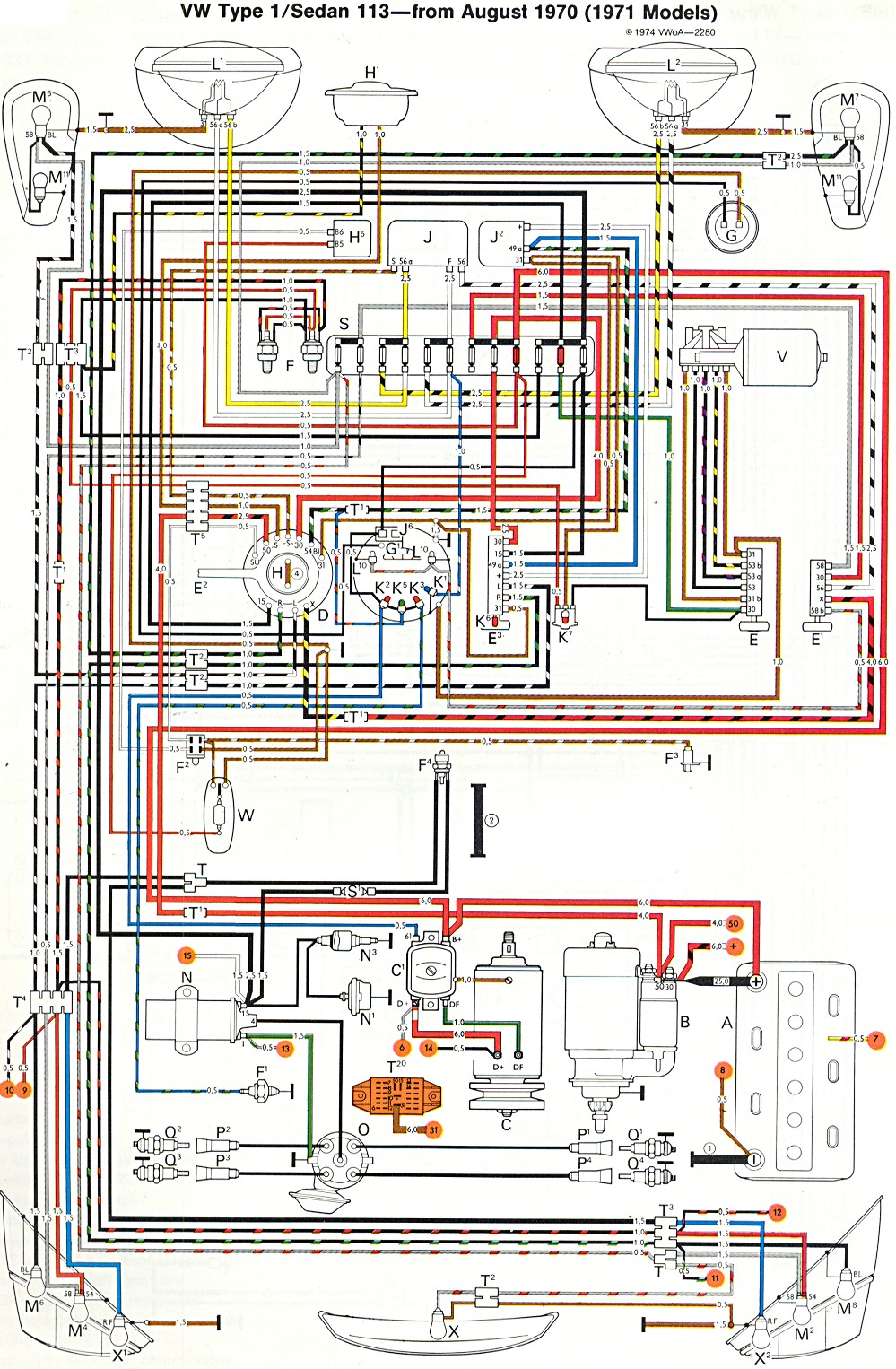 thesamba.com :: type 1 wiring diagrams 1974 vw ignition wiring diagram