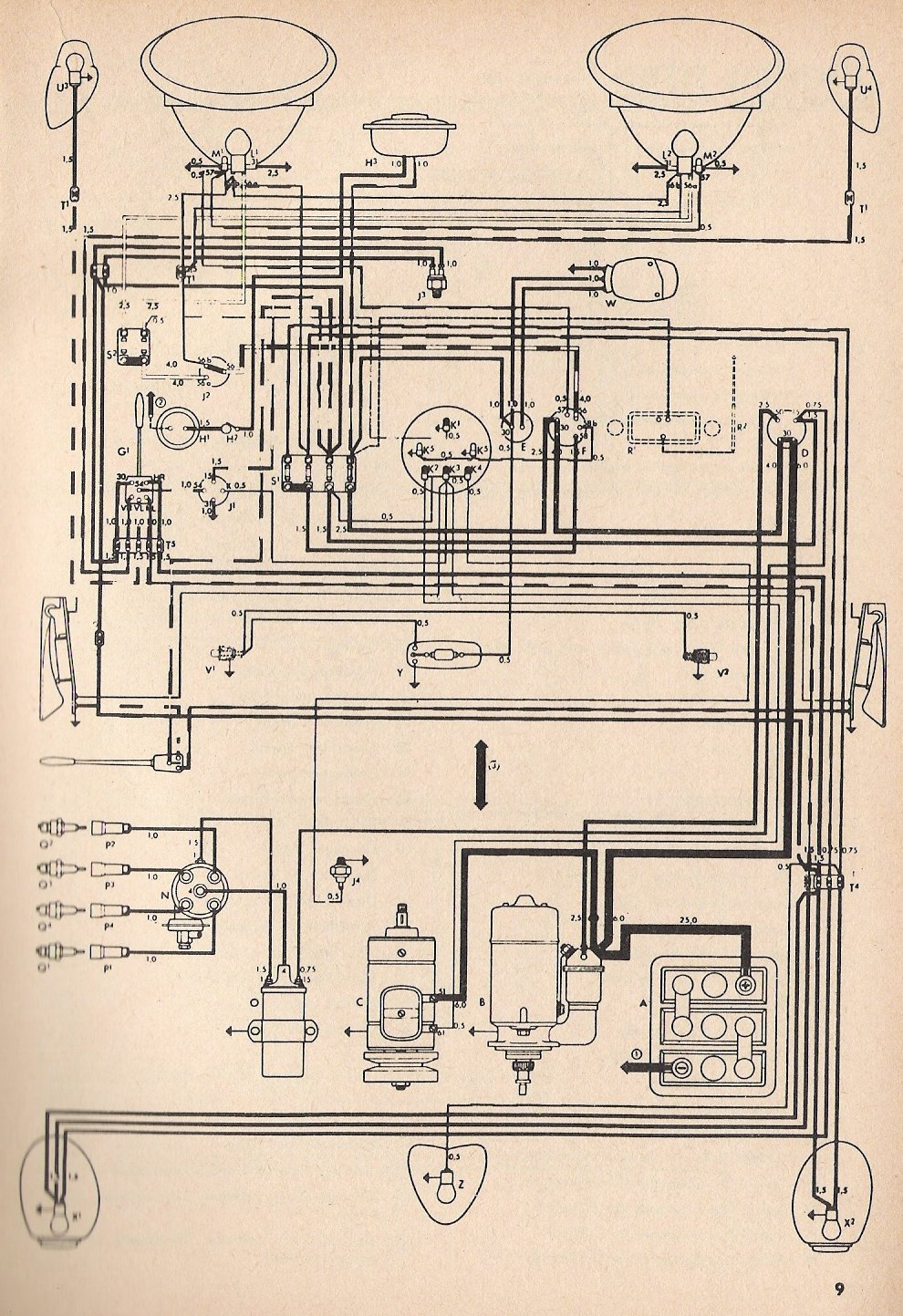 thesamba com type 1 wiring diagrams rh thesamba com 1972 vw super beetle fuse diagram