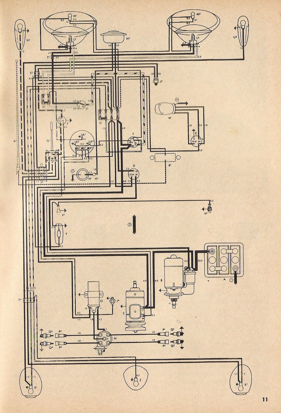 wiring diagram 1957 chevy 1967 vw beetle thesamba.com :: type 1 wiring diagrams #5
