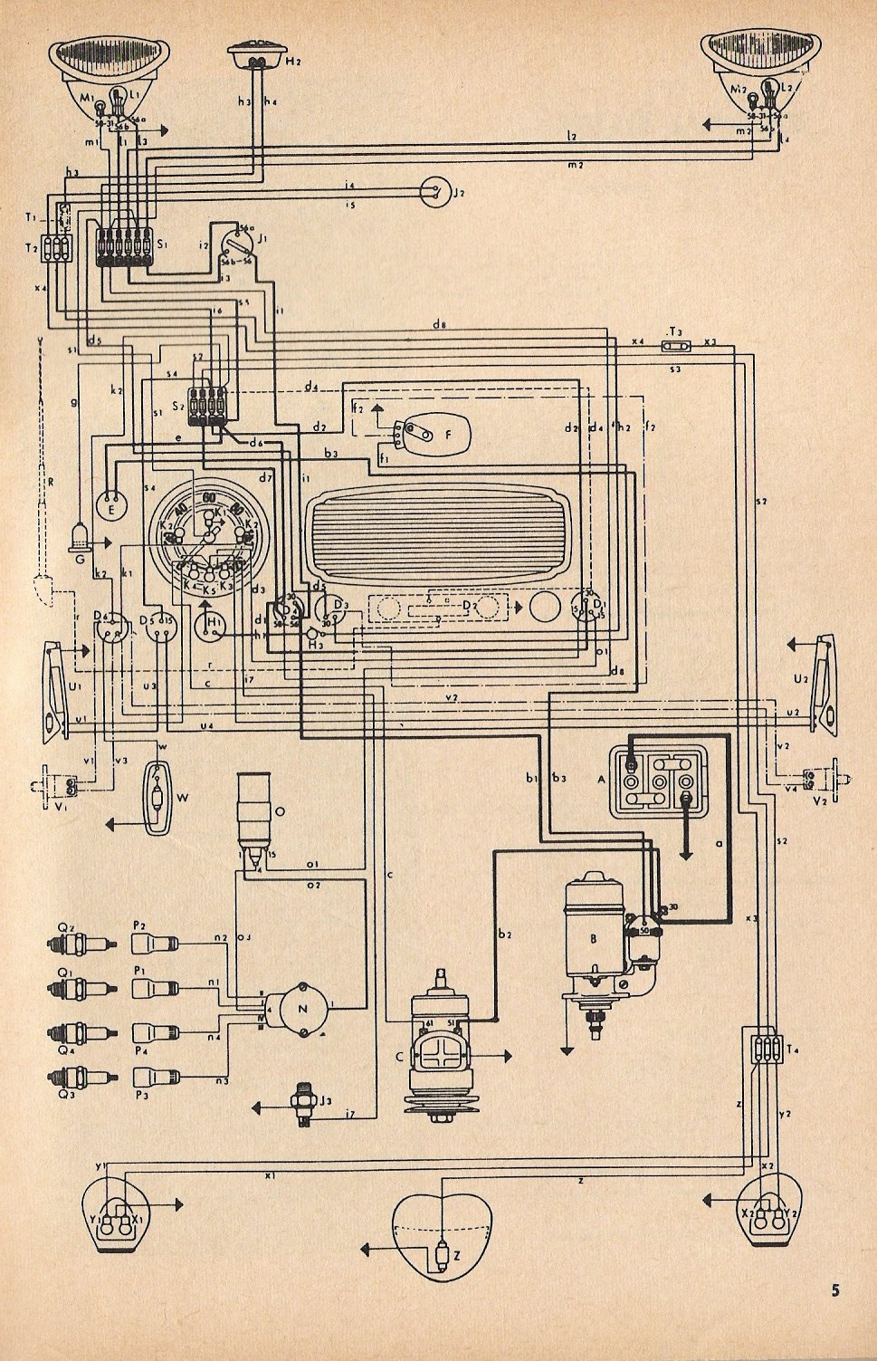 thesamba com type 1 wiring diagrams rh thesamba com 1966 volkswagen beetle wiring diagram 1966 vw bug fuse box diagram