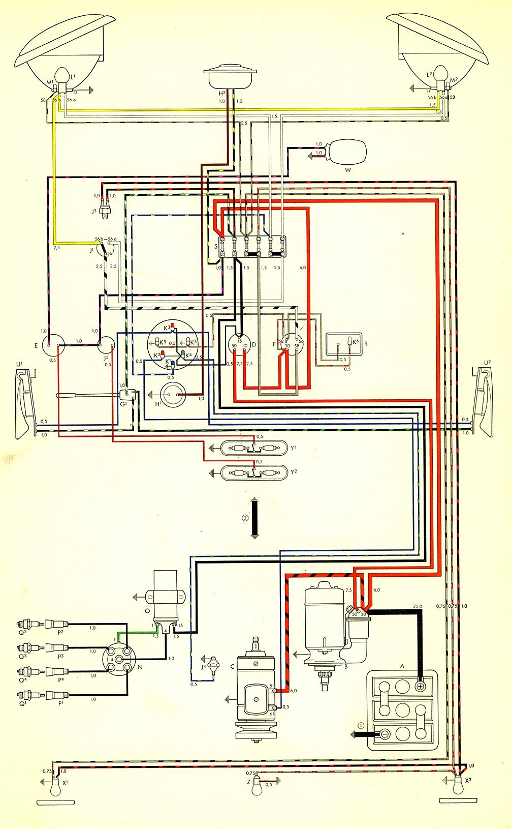 thesamba com type 2 wiring diagrams rh thesamba com 1965 VW Wiring Diagram 1973 VW Wiring Diagram