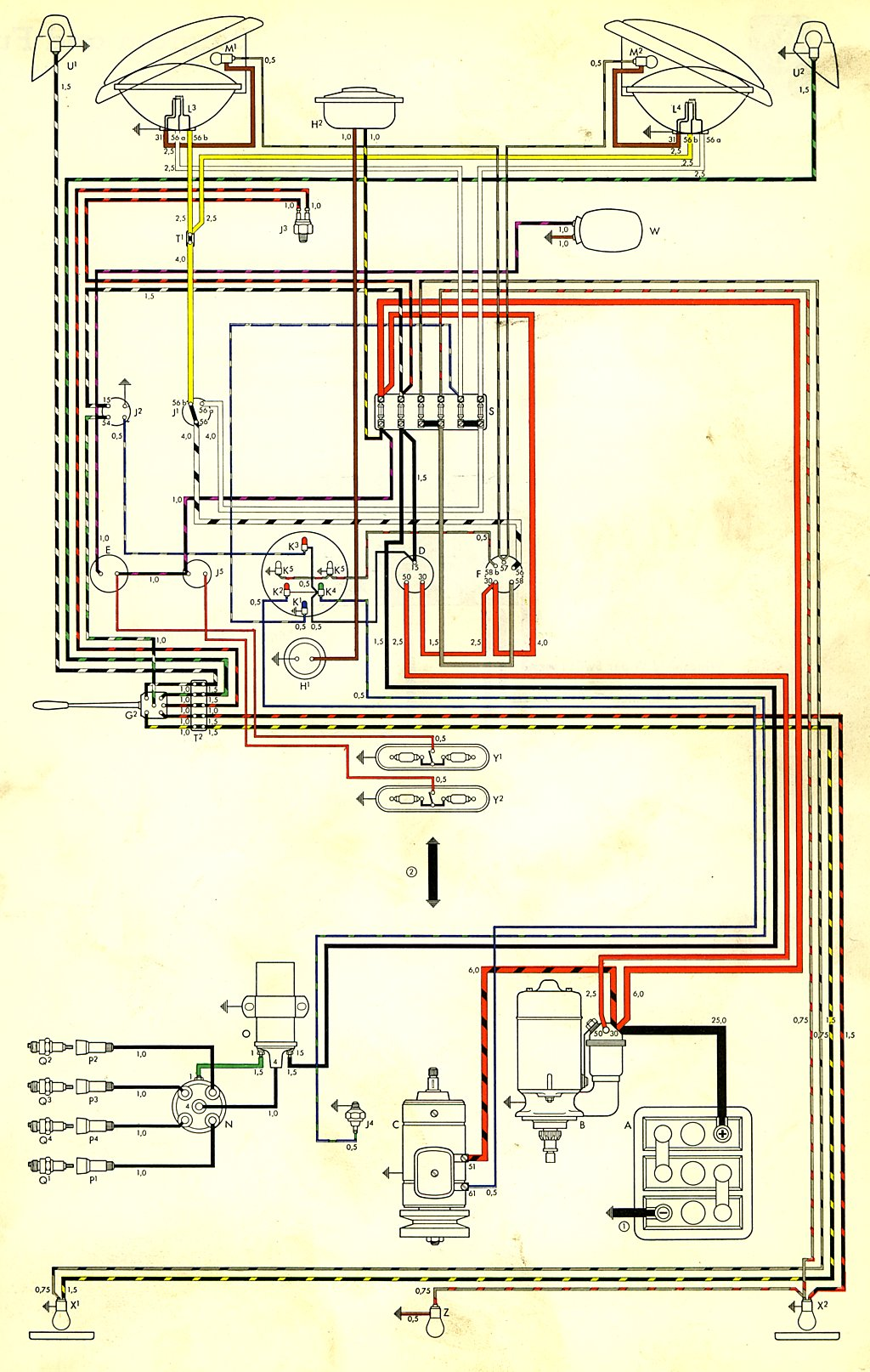 vw dune buggy alternator wiring vw 73 bus alternator wiring diagram thesamba.com :: type 2 wiring diagrams #14