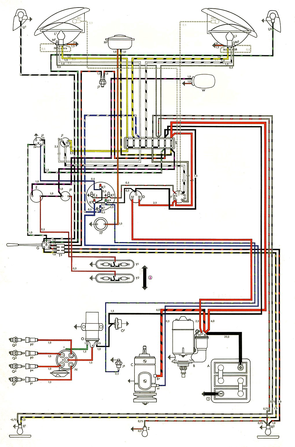 thesamba.com :: type 2 wiring diagrams wiring diagram 1971 honda 750 four