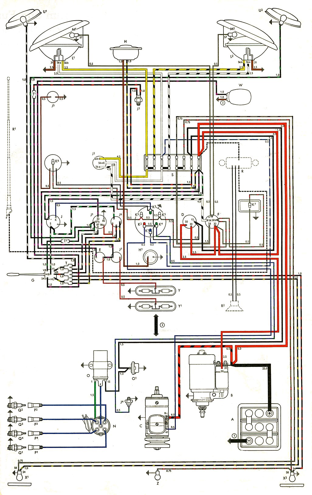 vw beetle generator wiring diagram thesamba gallery thesamba.com :: type 2 wiring diagrams 1975 vw beetle ignition wiring diagram
