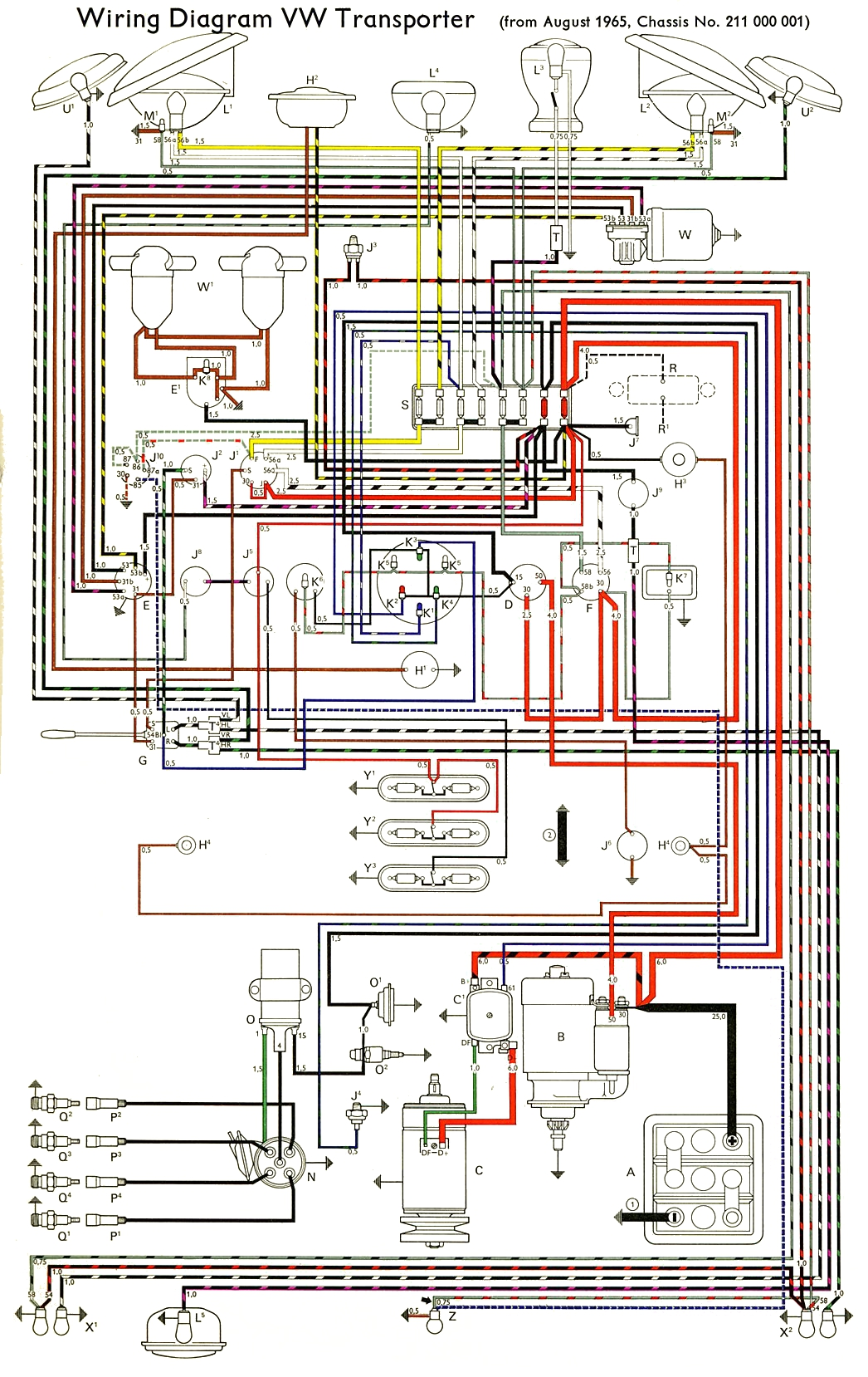 thesamba com type 2 wiring diagrams rh thesamba com Volkswagen Beetle  Wiring Diagram 56 VW Bug