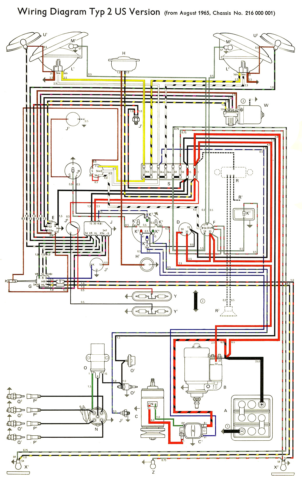 thesamba com type 2 wiring diagrams rh thesamba com VW Bus Engine Diagram 1971 VW Bus Wiring Diagram