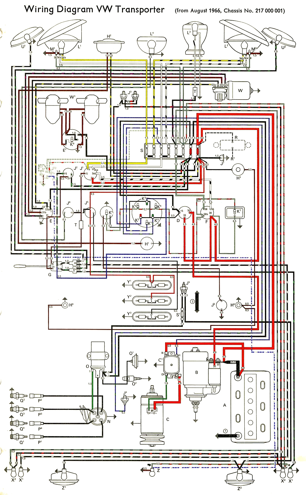 bus_67 thesamba com type 2 wiring diagrams 67 VW Beetle Wiring Diagram at bayanpartner.co
