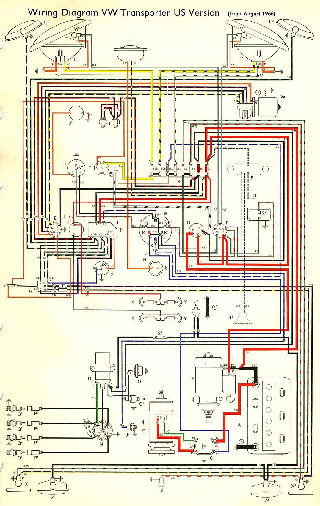 Thesamba Com Type 2 Wiring Diagrams 1965 VW Bug Wiring Schematic Vw Bus  1966 Wiring Diagram