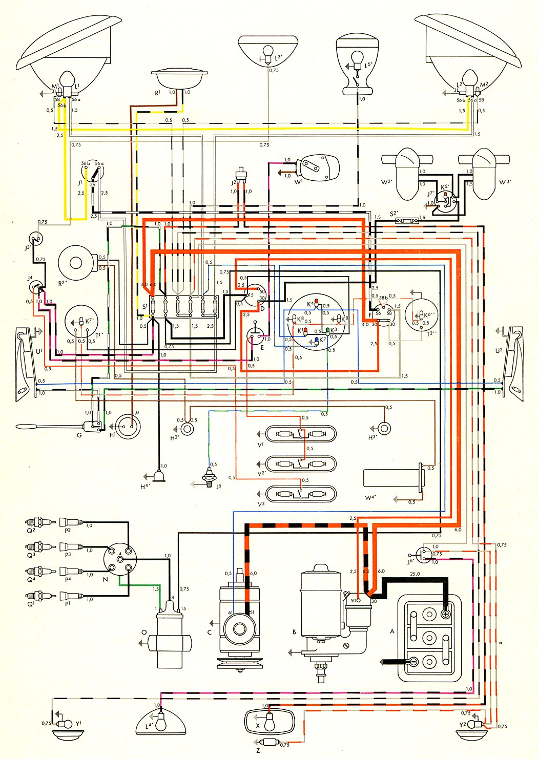 Vw Beetle Starter Motor Wiring Diagram : Thesamba type wiring diagrams