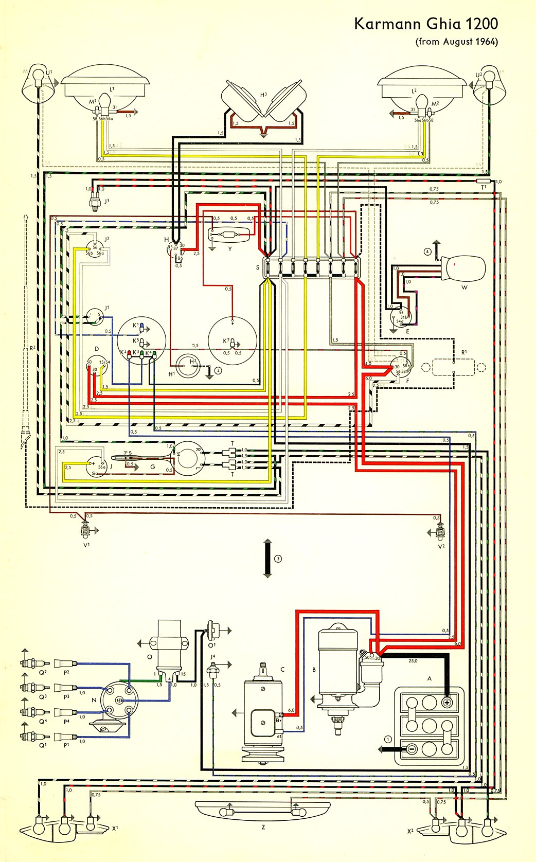 thesamba com karmann ghia wiring diagrams tail light wiring diagram for 1974 cj5 chevy wiring harness for 1974 #7