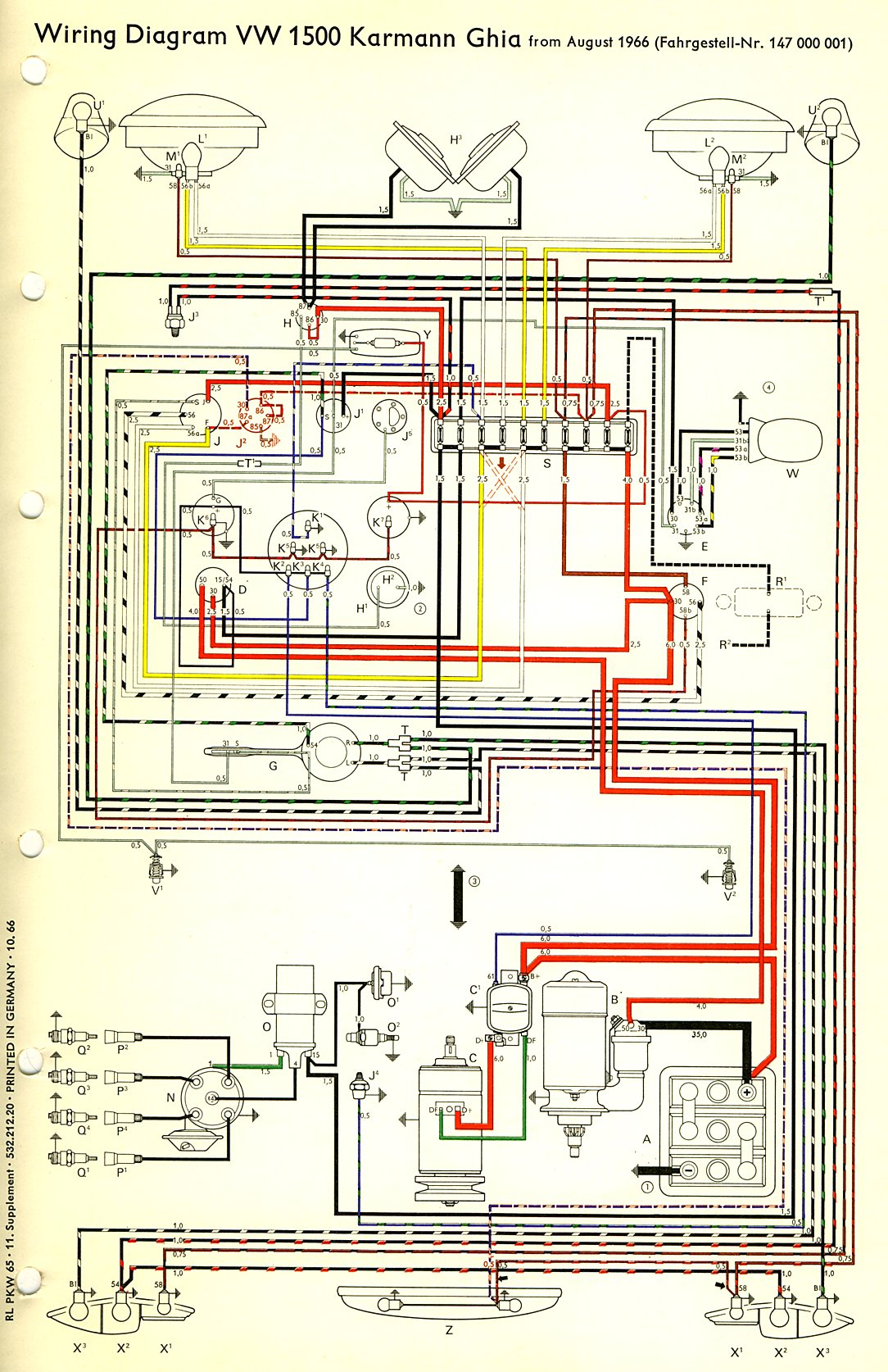 1970 vw 1600cc engine diagram 1970 vw wiring digram thesamba.com :: karmann ghia wiring diagrams