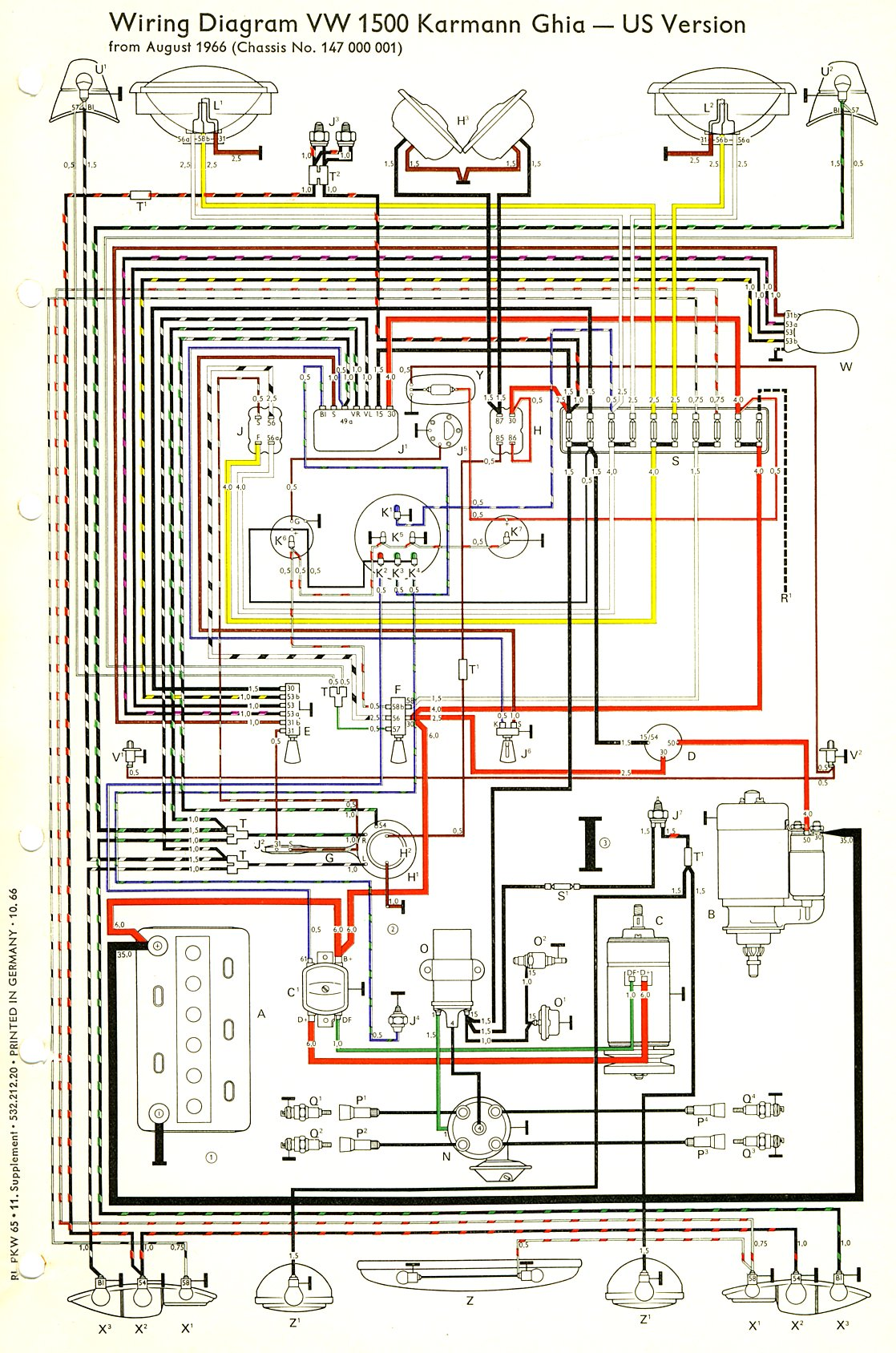 ghia_67_USA thesamba com karmann ghia wiring diagrams 1965 vw beetle wiring diagram at edmiracle.co
