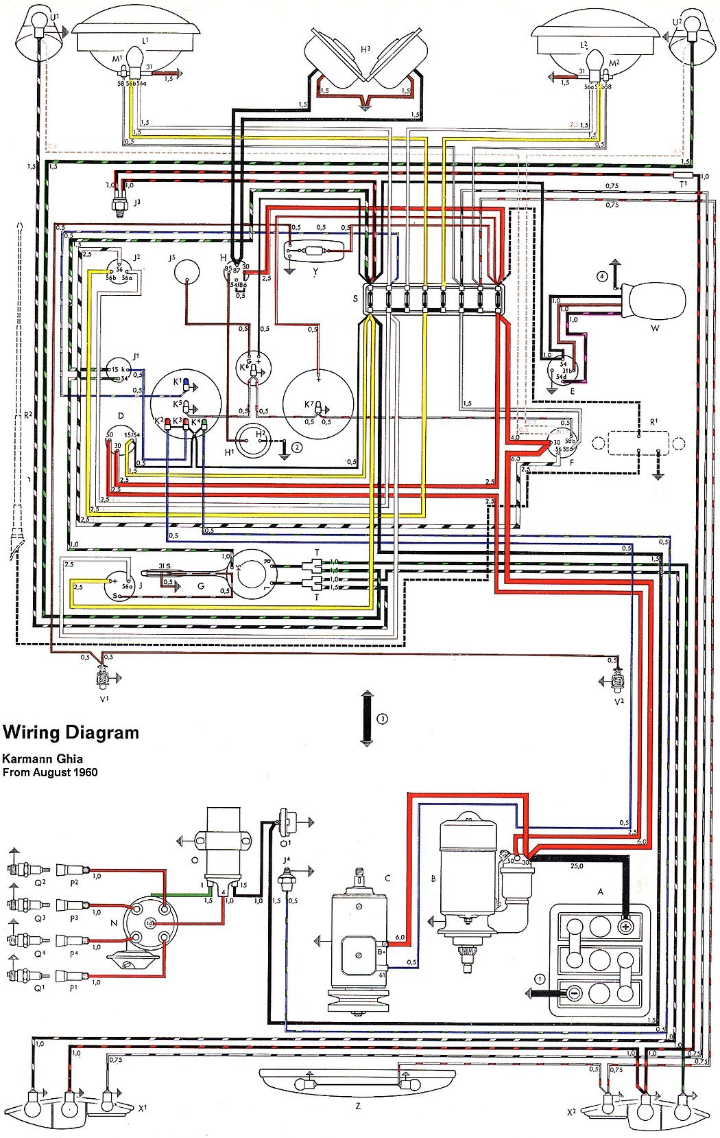 TheSamba.com :: Karmann Ghia Wiring Diagrams