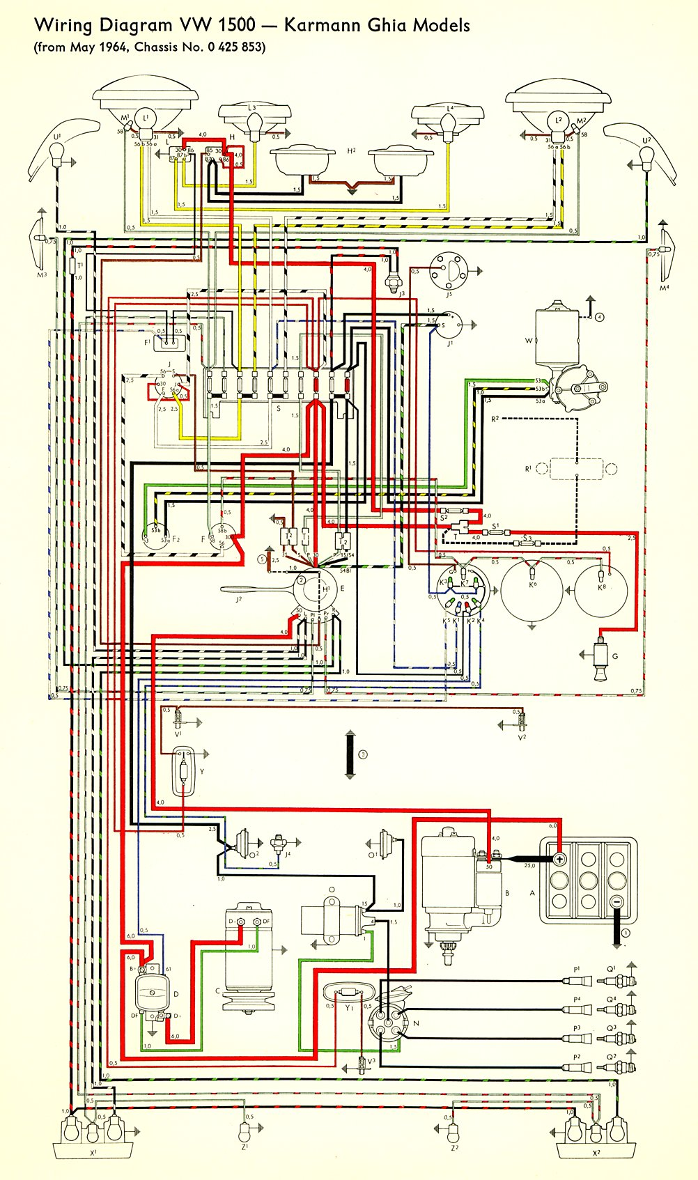 1972 Volkswagen Wiring Diagram Explore On The Net 1995 Jeep Wrangler Alternator Karmann Ghia 32 Vw Beetle
