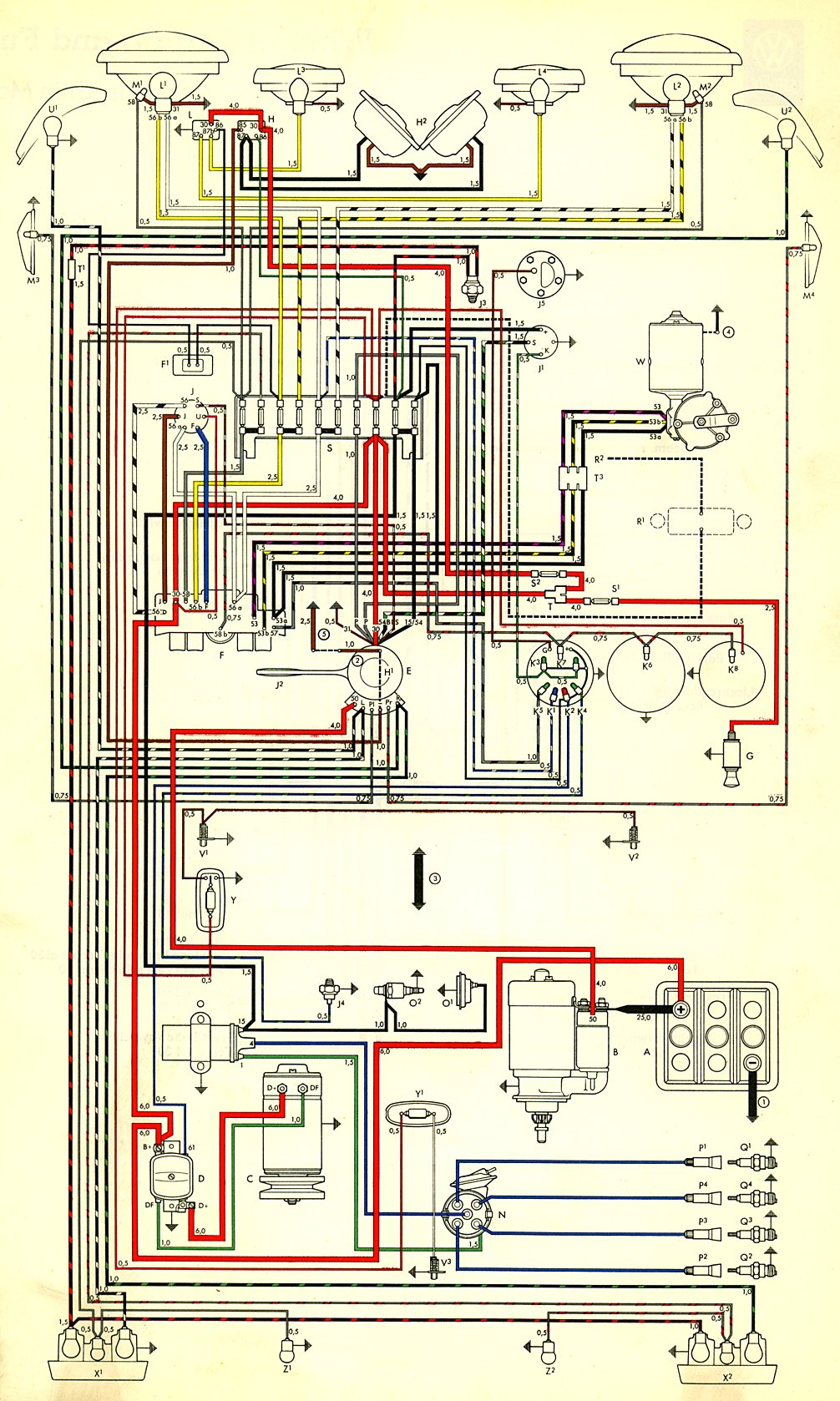 thesamba com type 3 wiring diagrams rh thesamba com VW Ignition Wiring Diagram 1969 VW Bus Wiring Harness