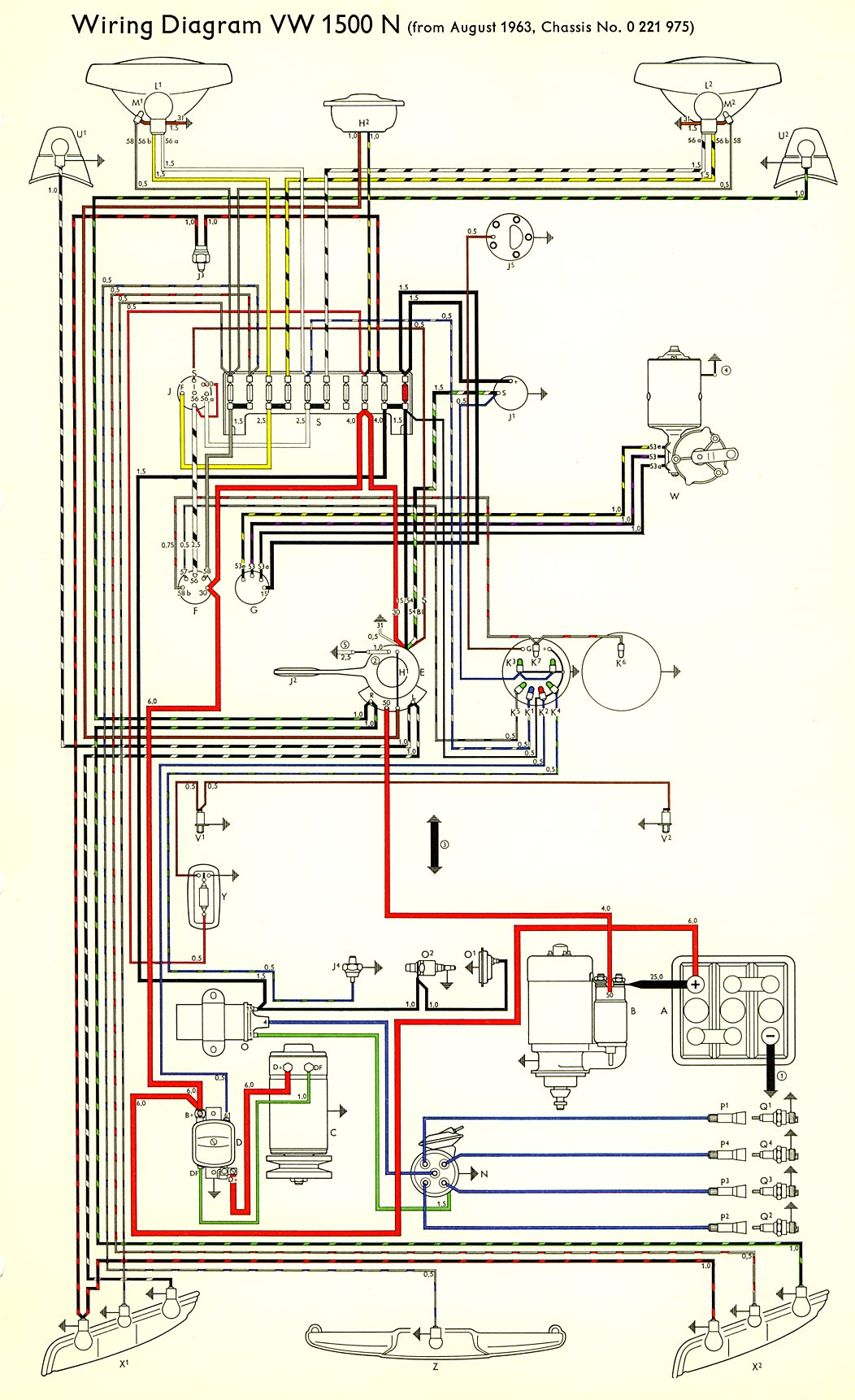 1964 Volkswagen Wiring Diagram 30 Images Type3 1500n 64 Thesamba Com Type 3 Diagrams 1968 At