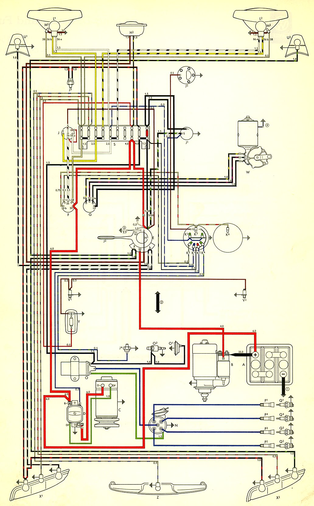 Vw Type 3 Wiring Diagram Data Schematics 72 Harness Thesamba Com Diagrams Rh 1969 Bus