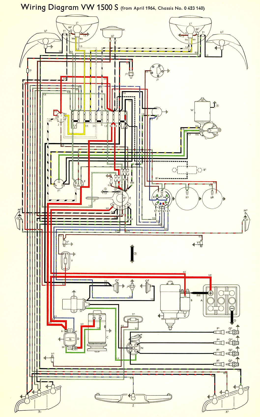 type3_1500S_6465 thesamba com type 3 wiring diagrams Basic Electrical Wiring Diagrams at bayanpartner.co