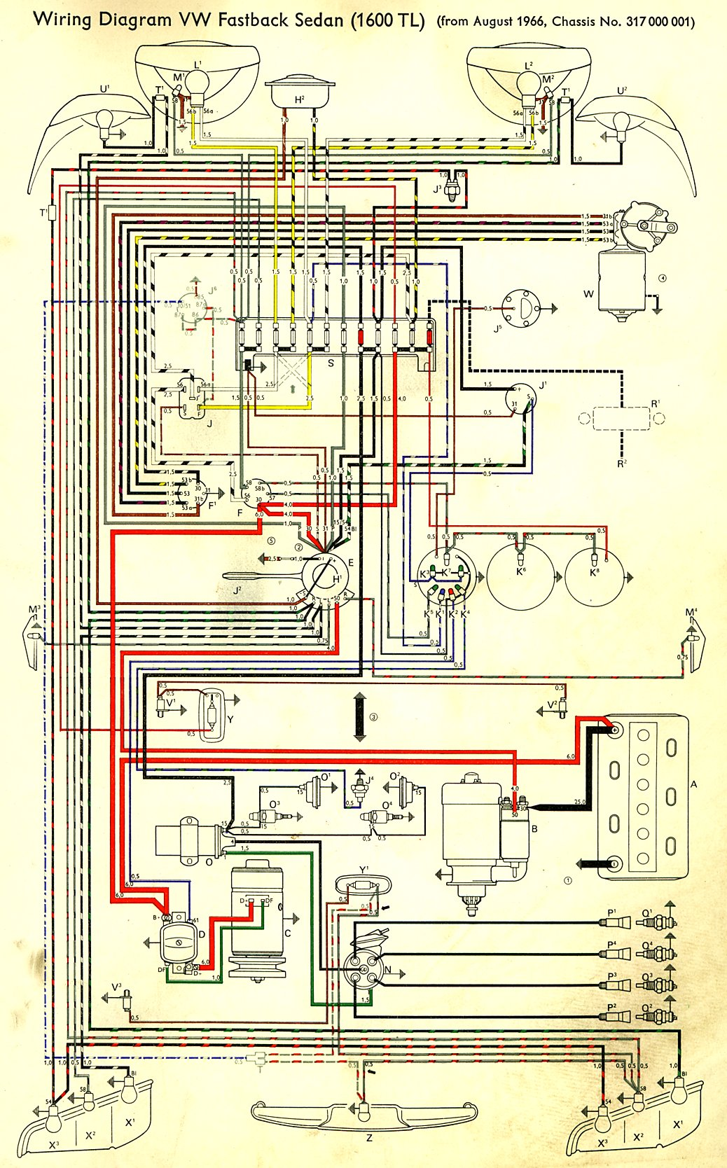thesamba.com :: type 3 wiring diagrams 66 vw bug wire diagram of 1961 vw bug wiring diagram