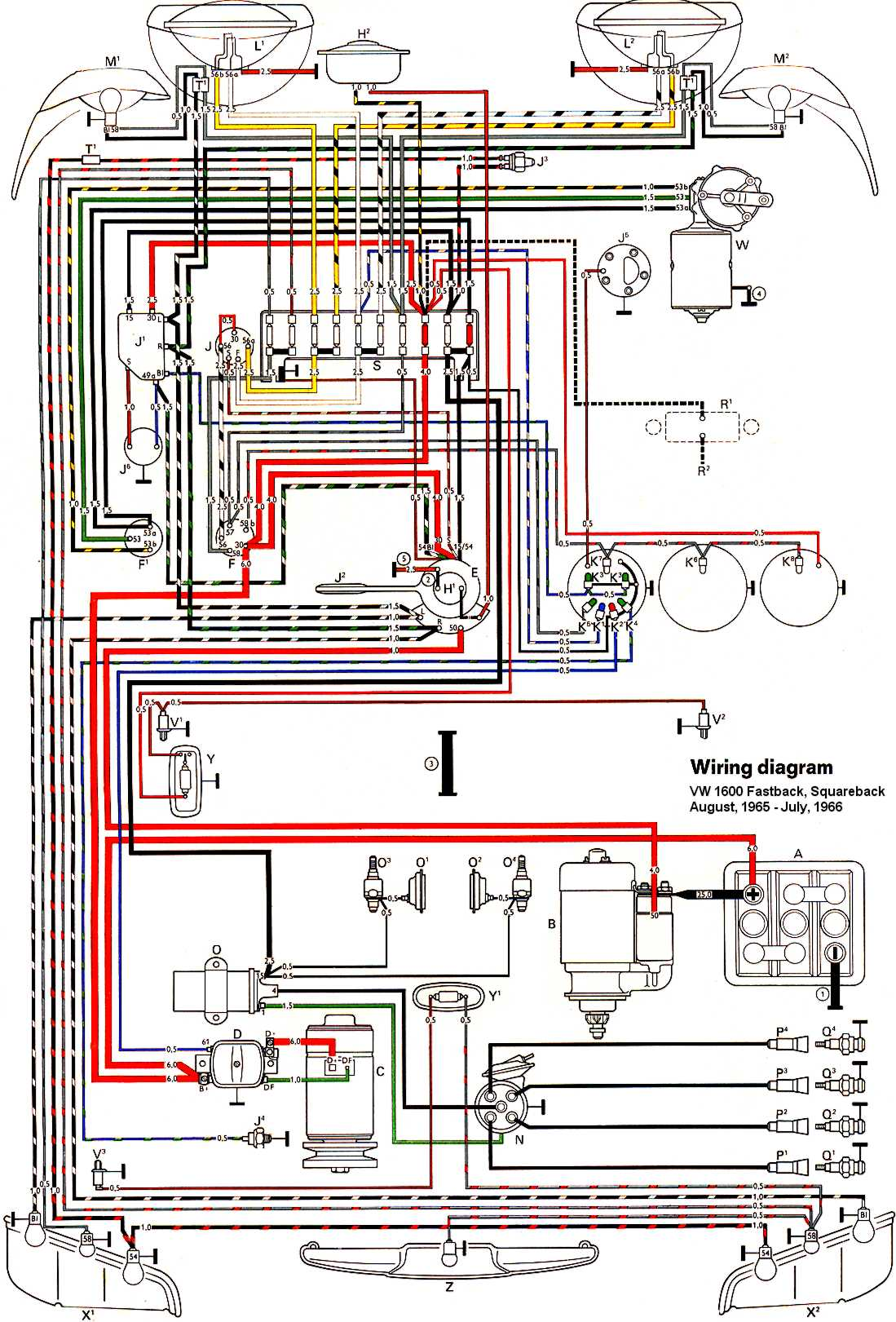 type3_1600_66 thesamba com type 3 wiring diagrams 1970 vw beetle wiring schematic at n-0.co