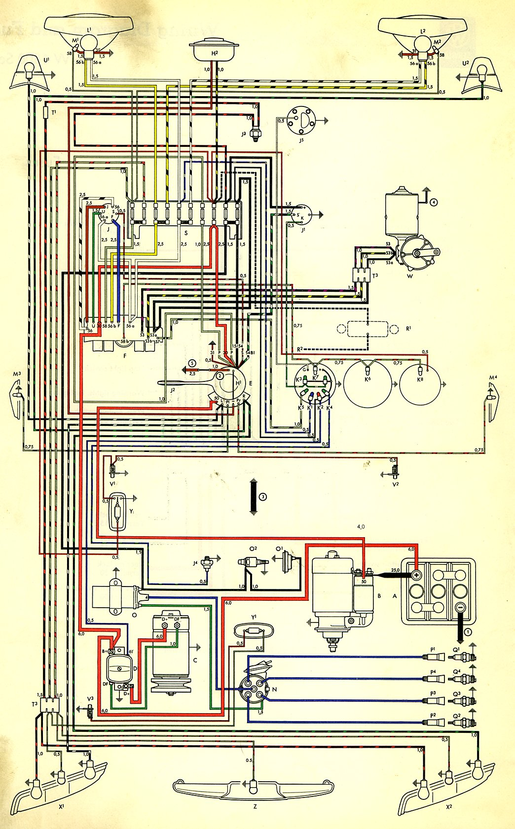 thesamba com type 3 wiring diagrams rh thesamba com 1969 VW Bus Wiring  Harness 1973 VW Wiring Diagram