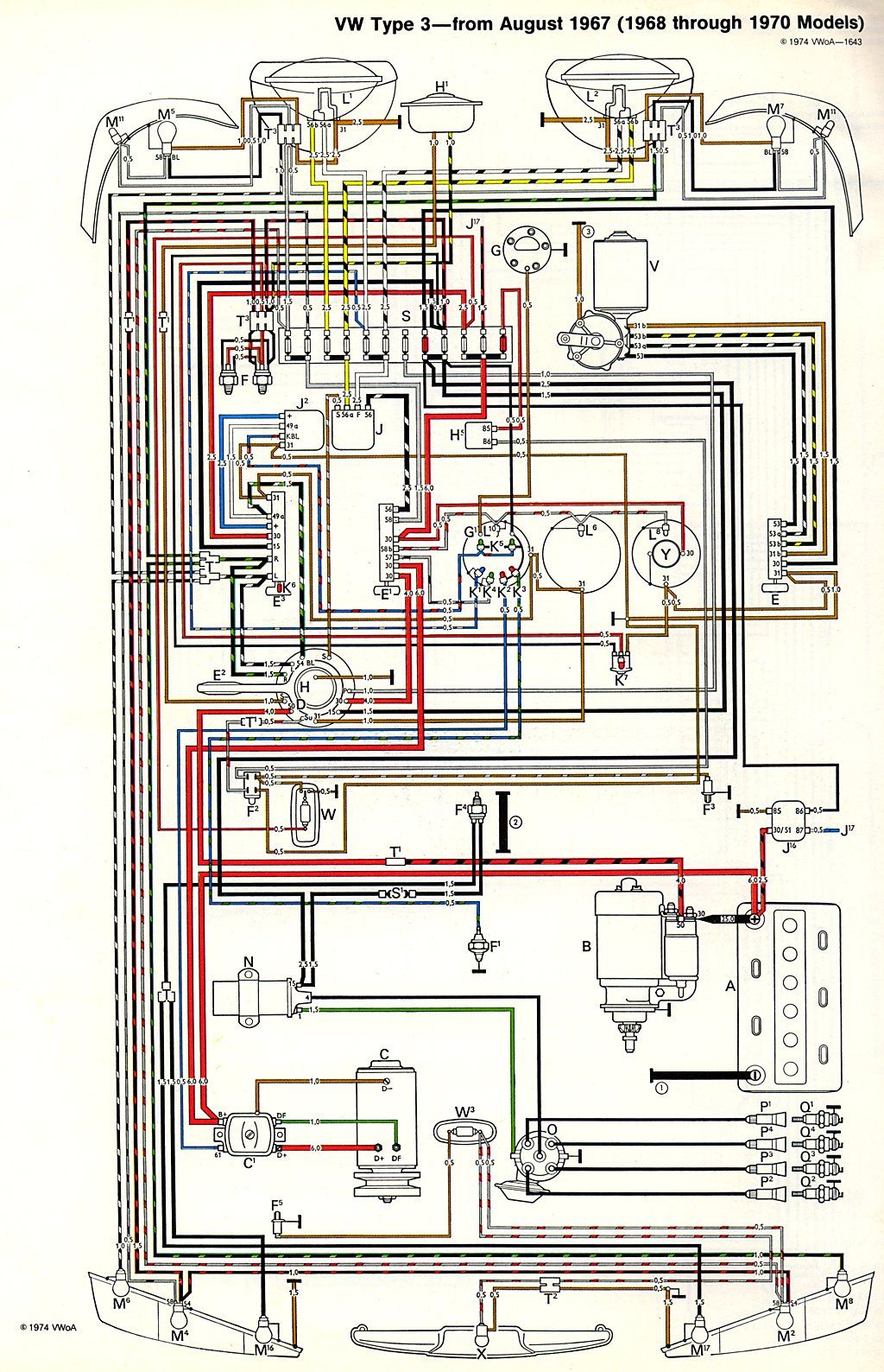 thesamba com type 3 wiring diagrams rh thesamba com 1969 VW Bus Wiring Harness VW Voltage Regulator Wiring Diagram