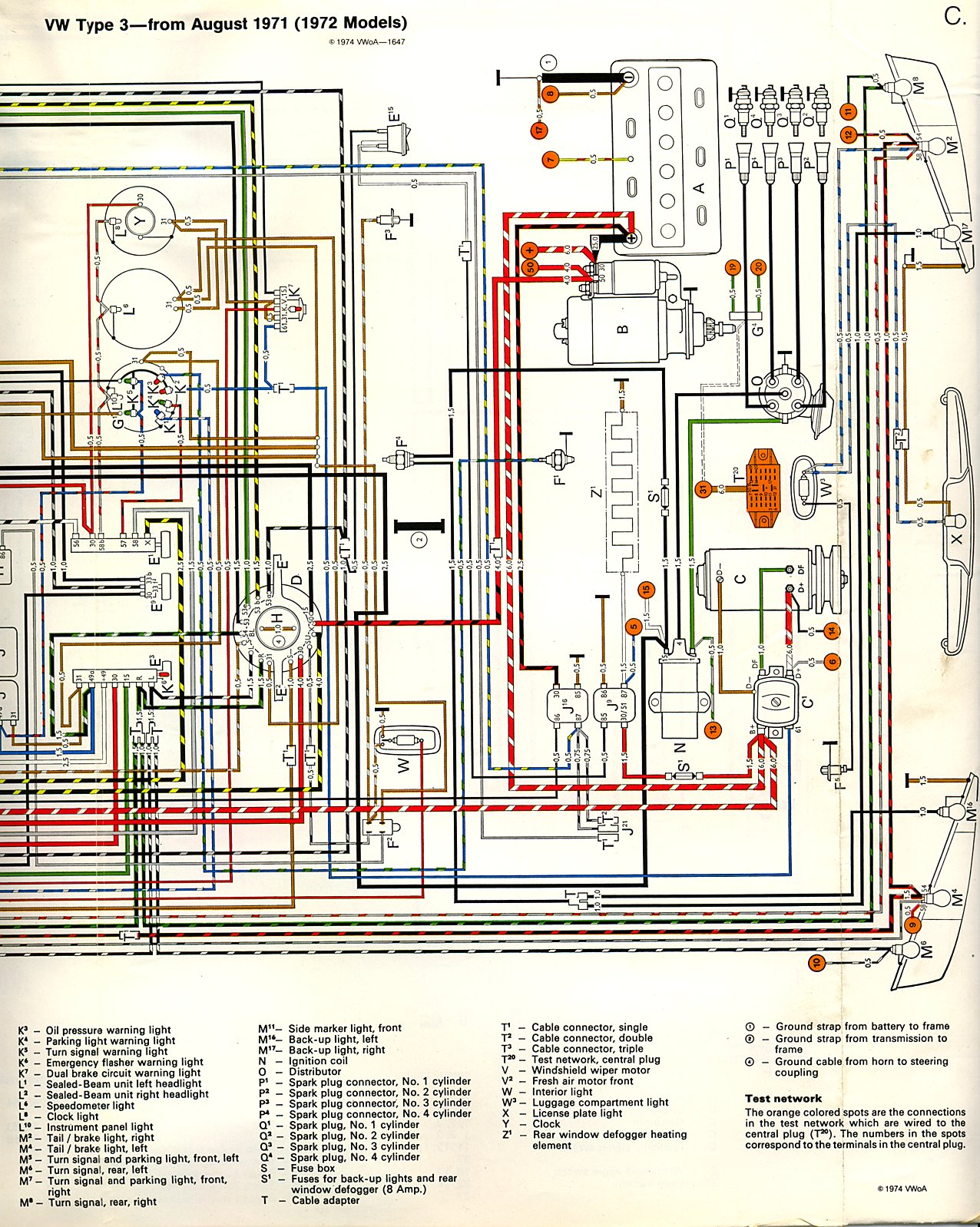 thesamba com type 3 wiring diagrams 1973 vw bus vacuum diagram vw type 3 wiring diagram #9