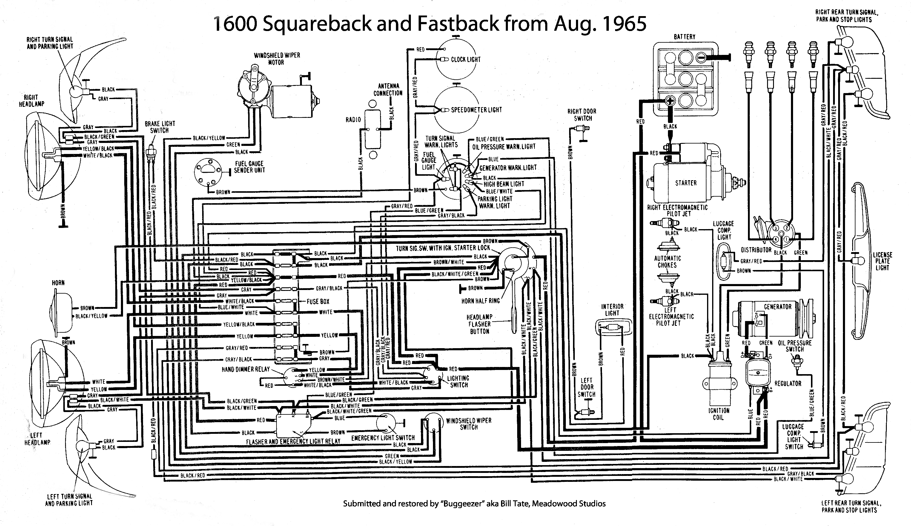 thesamba com type 3 wiring diagrams rh thesamba com 67 VW Beetle Wiring Diagram VW Squareback Fuse Wiring