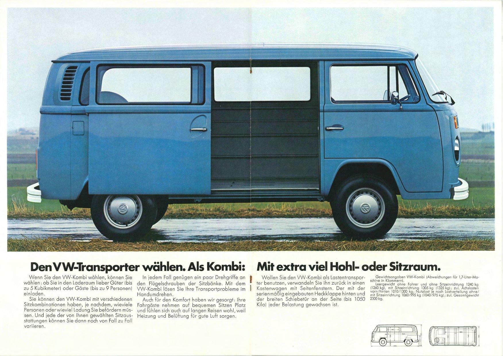 vw archives 1973 vw bus sales brochure der vw transporter german. Black Bedroom Furniture Sets. Home Design Ideas