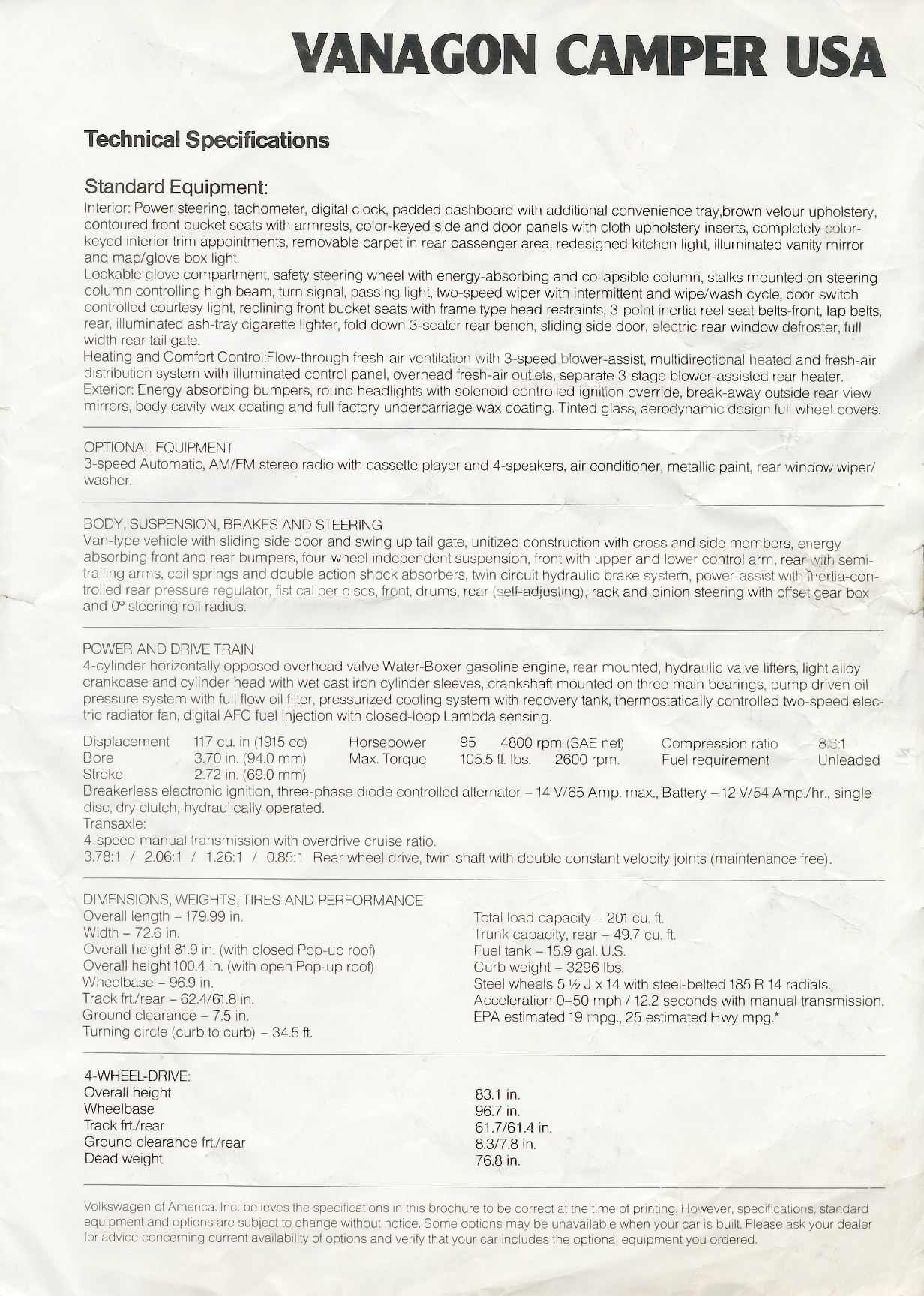Vanagon View Topic Weight 81 Subaru Gl Fuel Filter Location The Vw Brochure At This Link