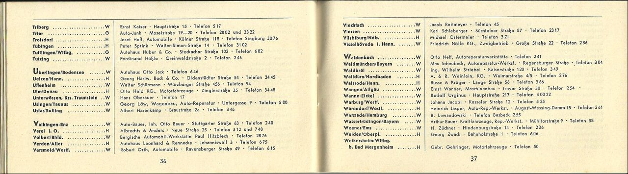 Thesamba Com Vw Archives 1951 Vw Dealer List German