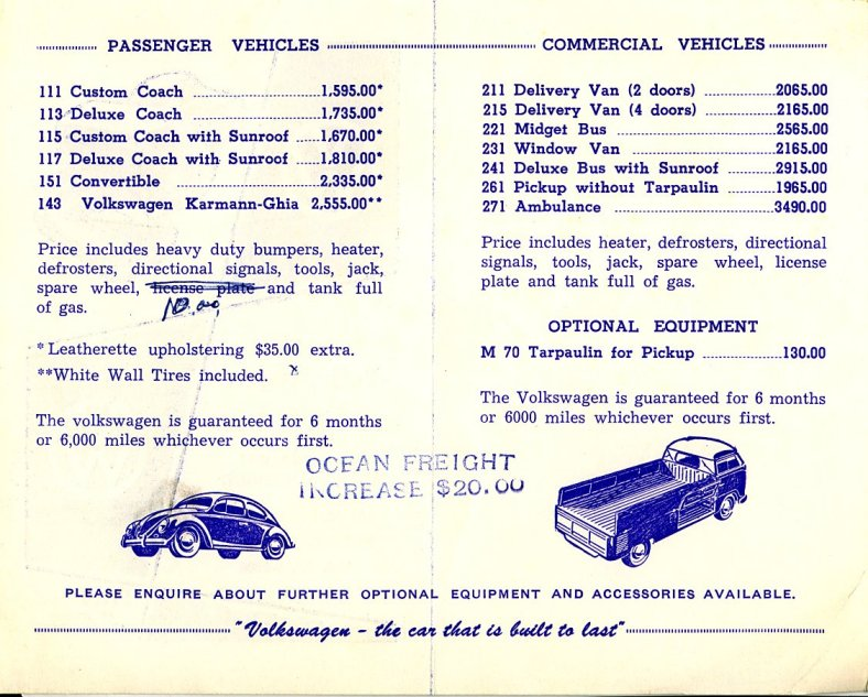 TheSamba com :: VW Archives - 1957 price list canadian