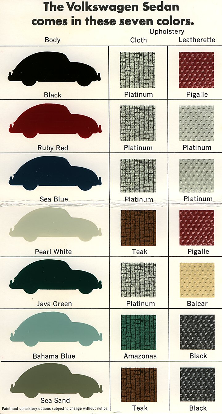 Vintage volkswagen bug original paint and interior colors from autos weblog