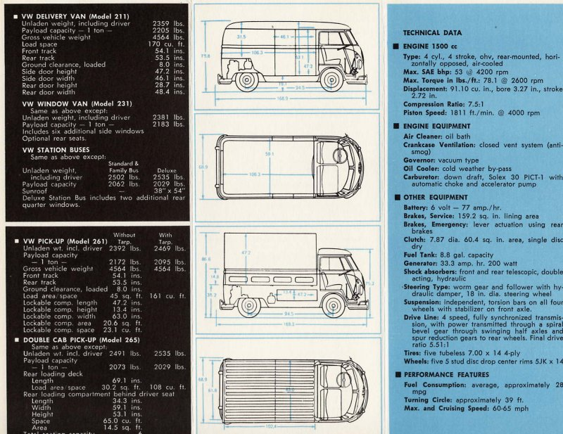 Thesamba Com Vw Archives 1966 Bus Specification Chart