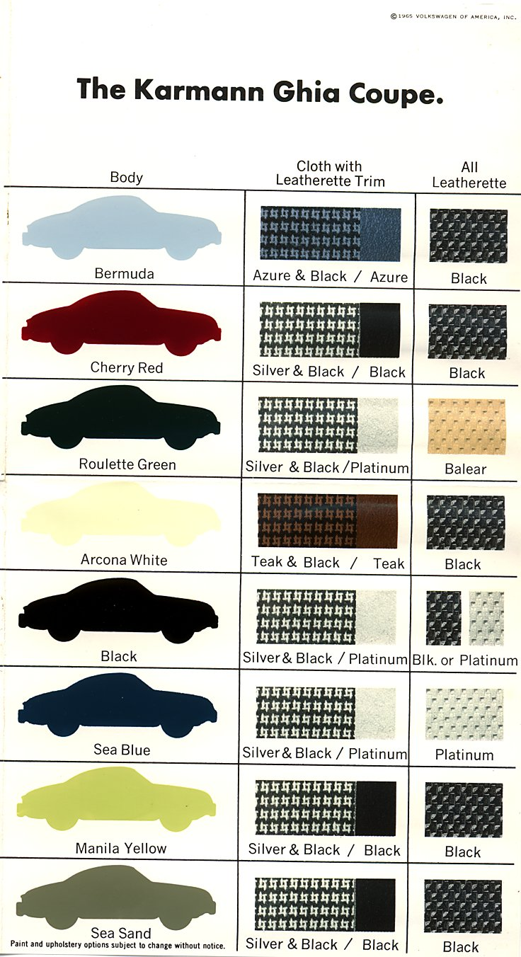 Karmann Ghia Paint Colors