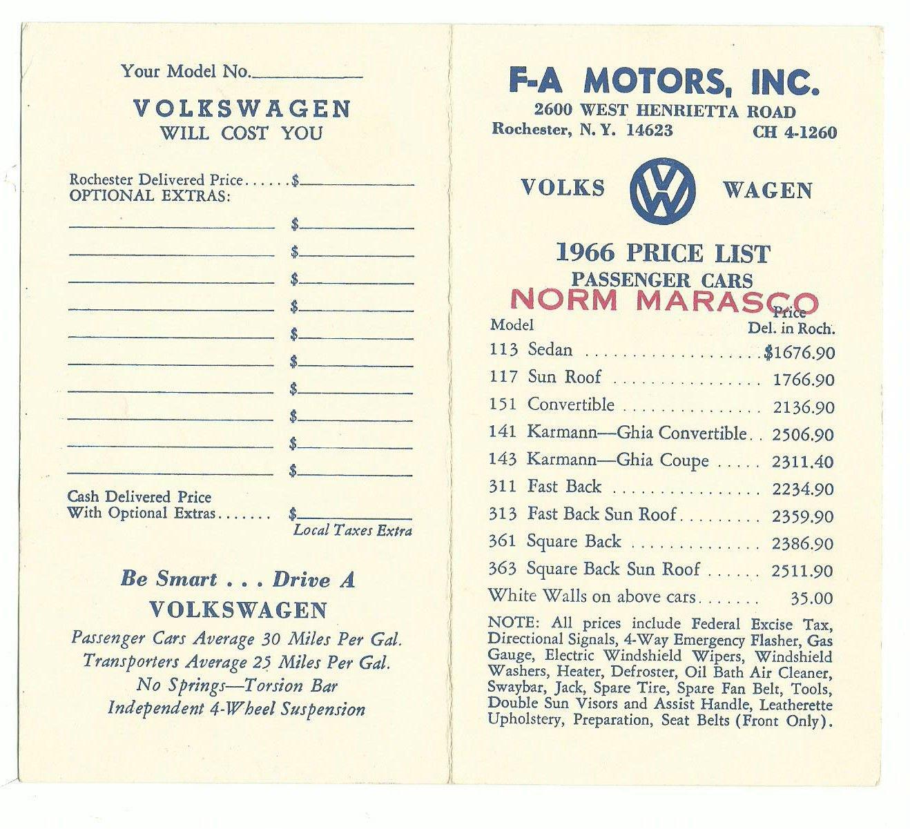 Thesamba Com Vw Archives 1966 Vw Price List F A