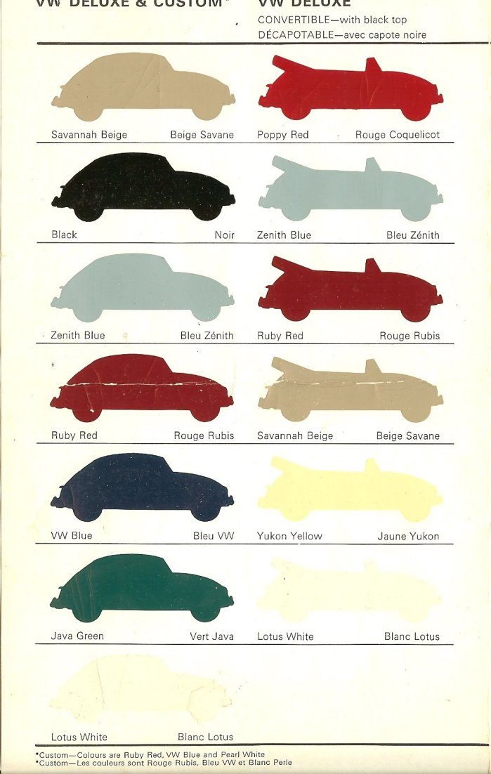 Thesamba Com Vw Archives 1967 Vw Color Charts Canada