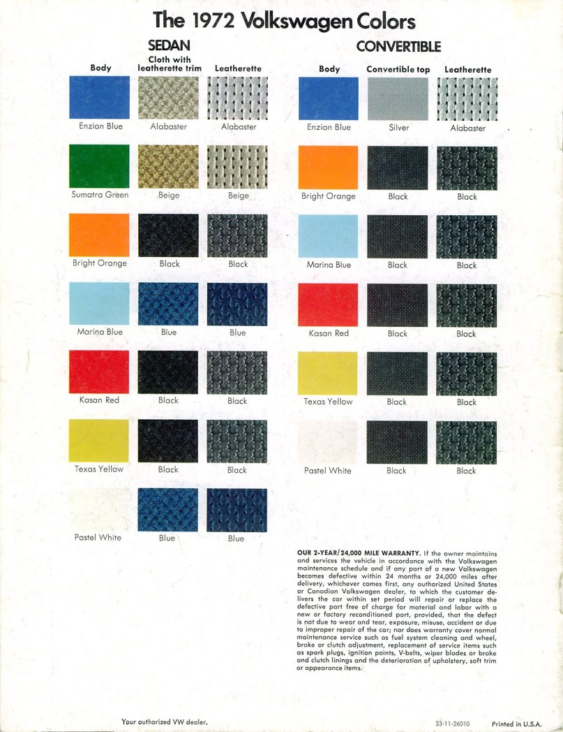 What are the original colors of the 1972 Volkswagen 1302 ...