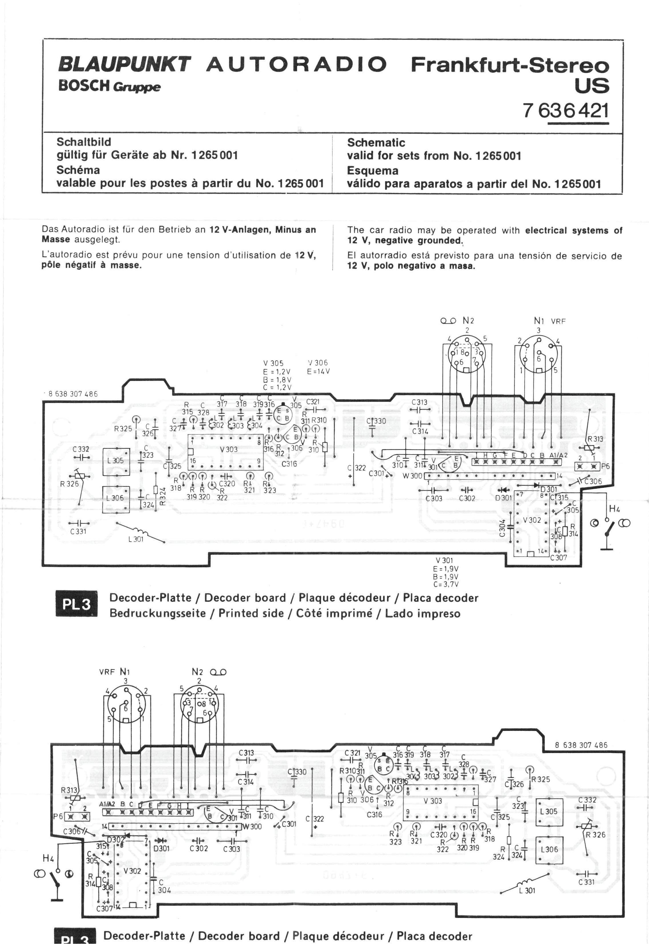 Wiring Diagram Blaupunkt Car Stereo Diagrams Thesamba Com 1977 Frankfurt Us Schematic Bose