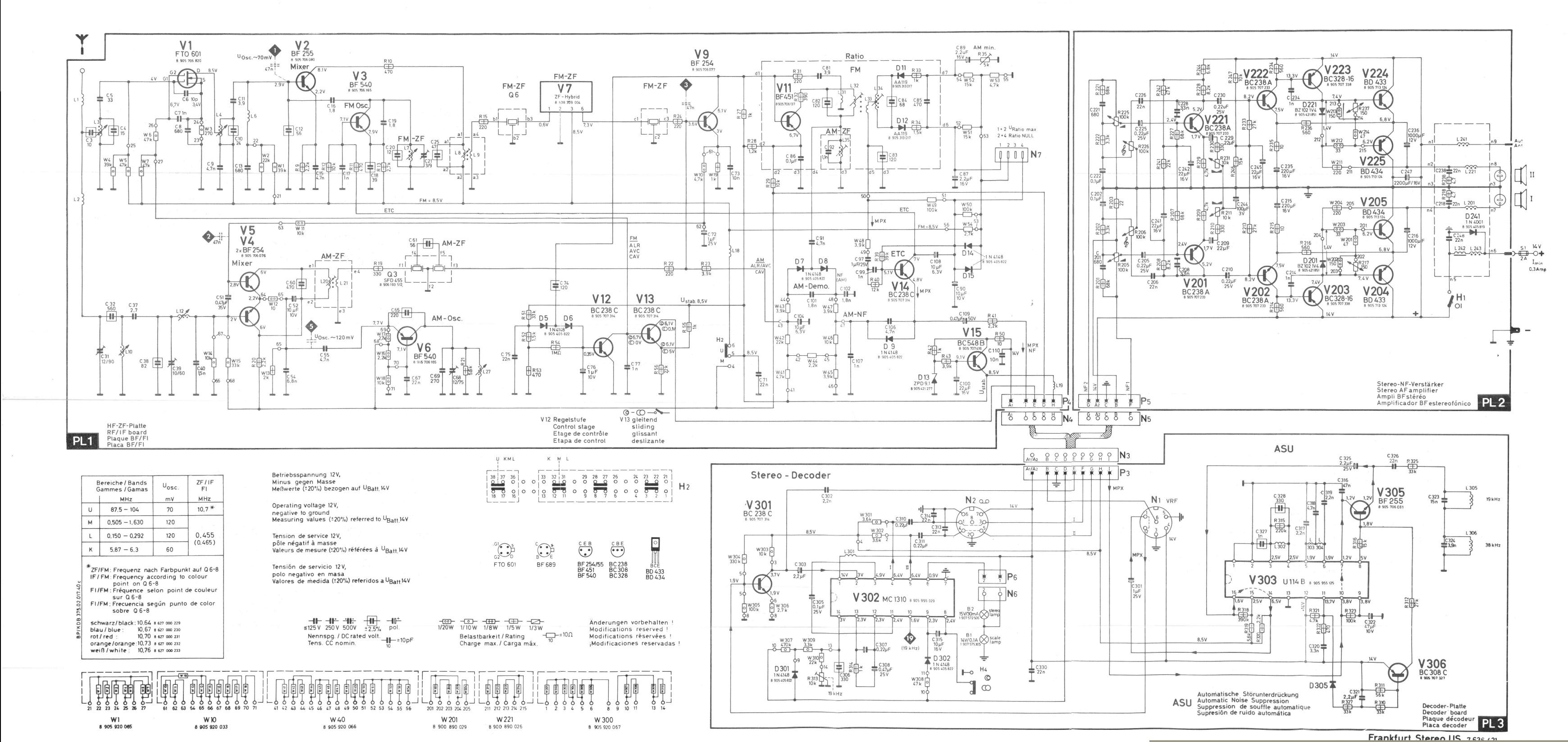 Blaupunkt Radio Wiring Harness : Thesamba blaupunkt frankfurt stereo us schematic