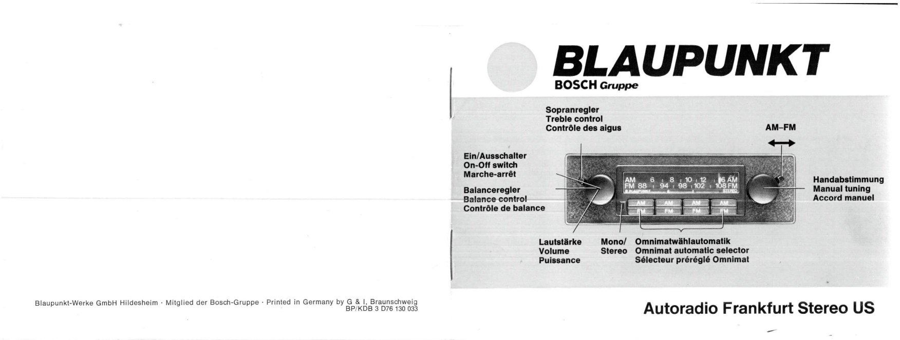 thesamba com 1977 blaupunkt frankfurt stereo us installation and rh thesamba com Car Owners Manual Corvette Owners Manual