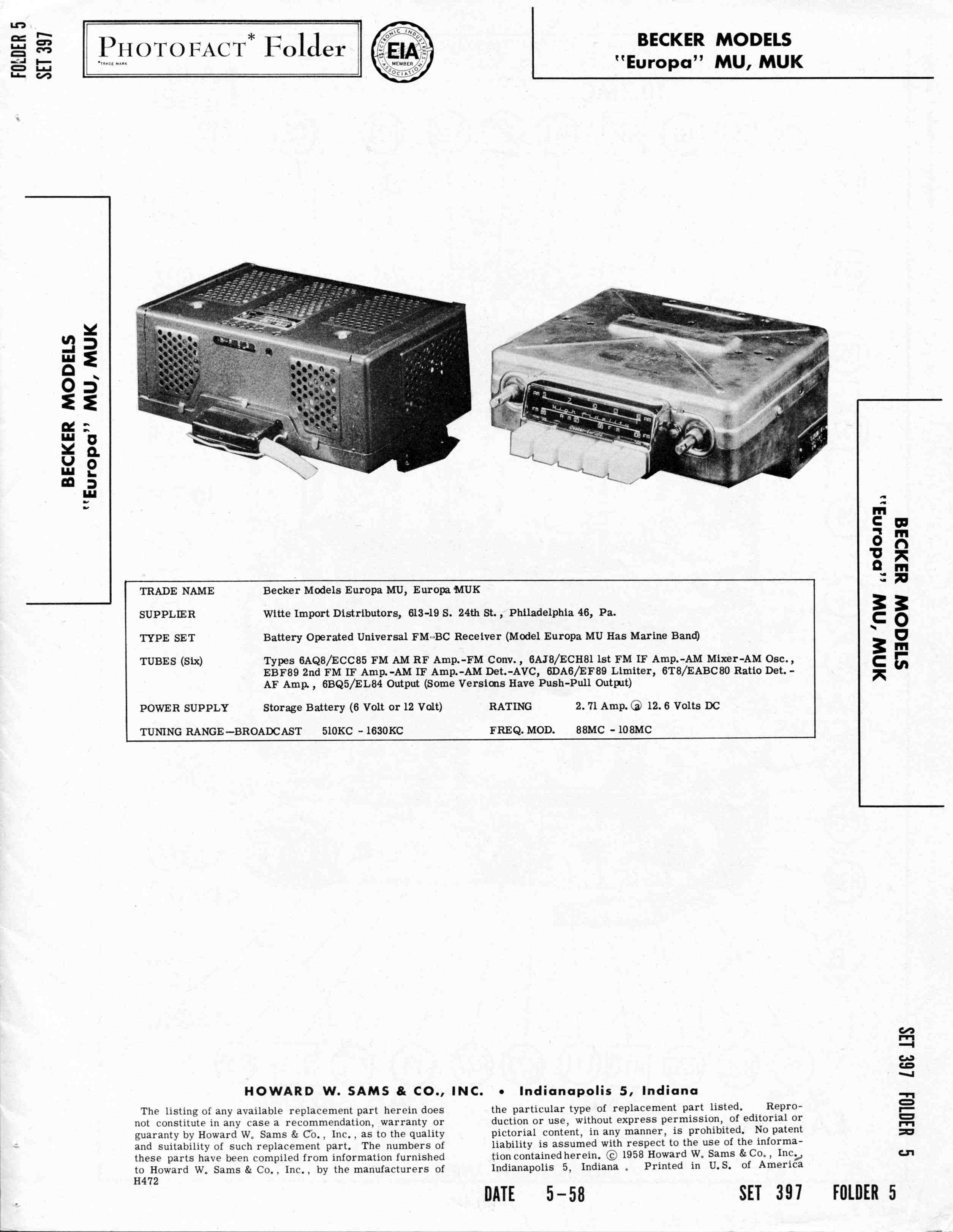 TheSamba com :: May, 1958 Becker Europa Radio Manual