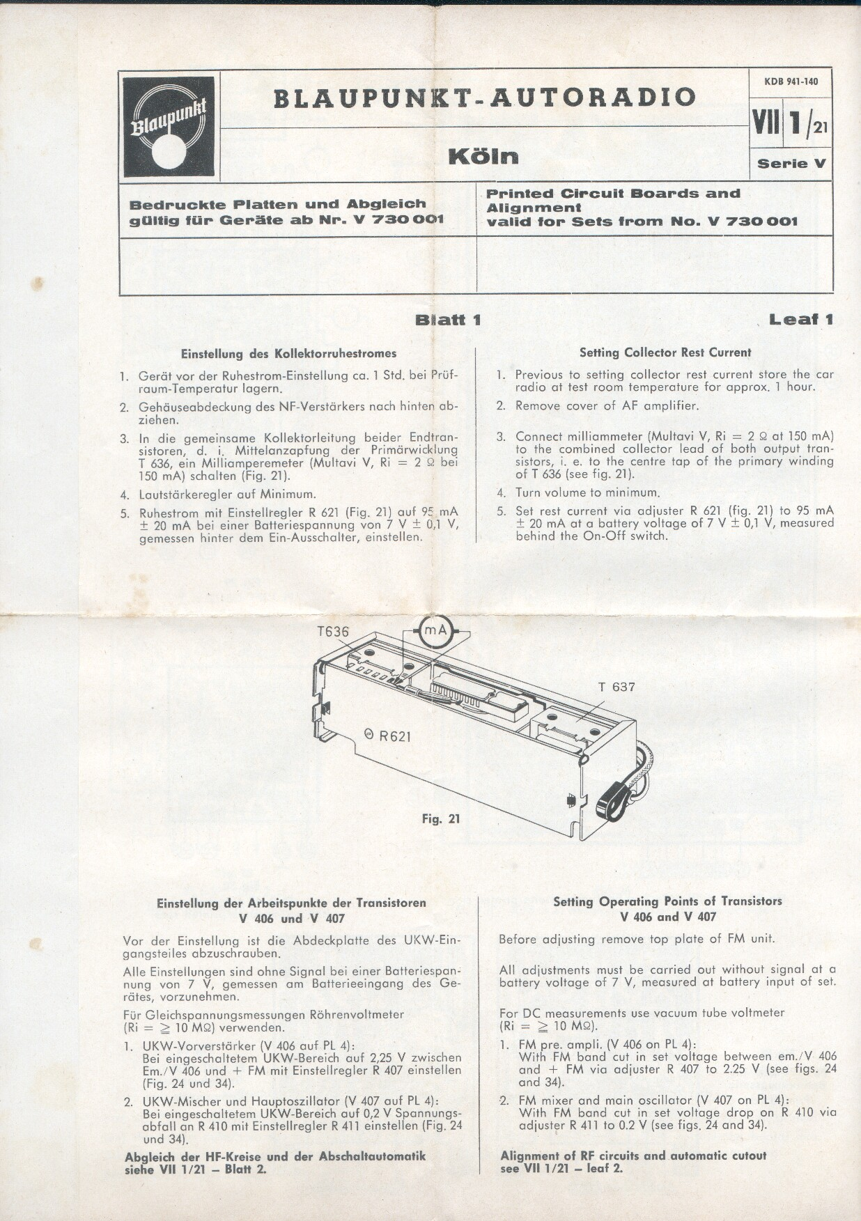 1965 Blaupunkt Koln Schematics Circuit Board Printed And Alignment