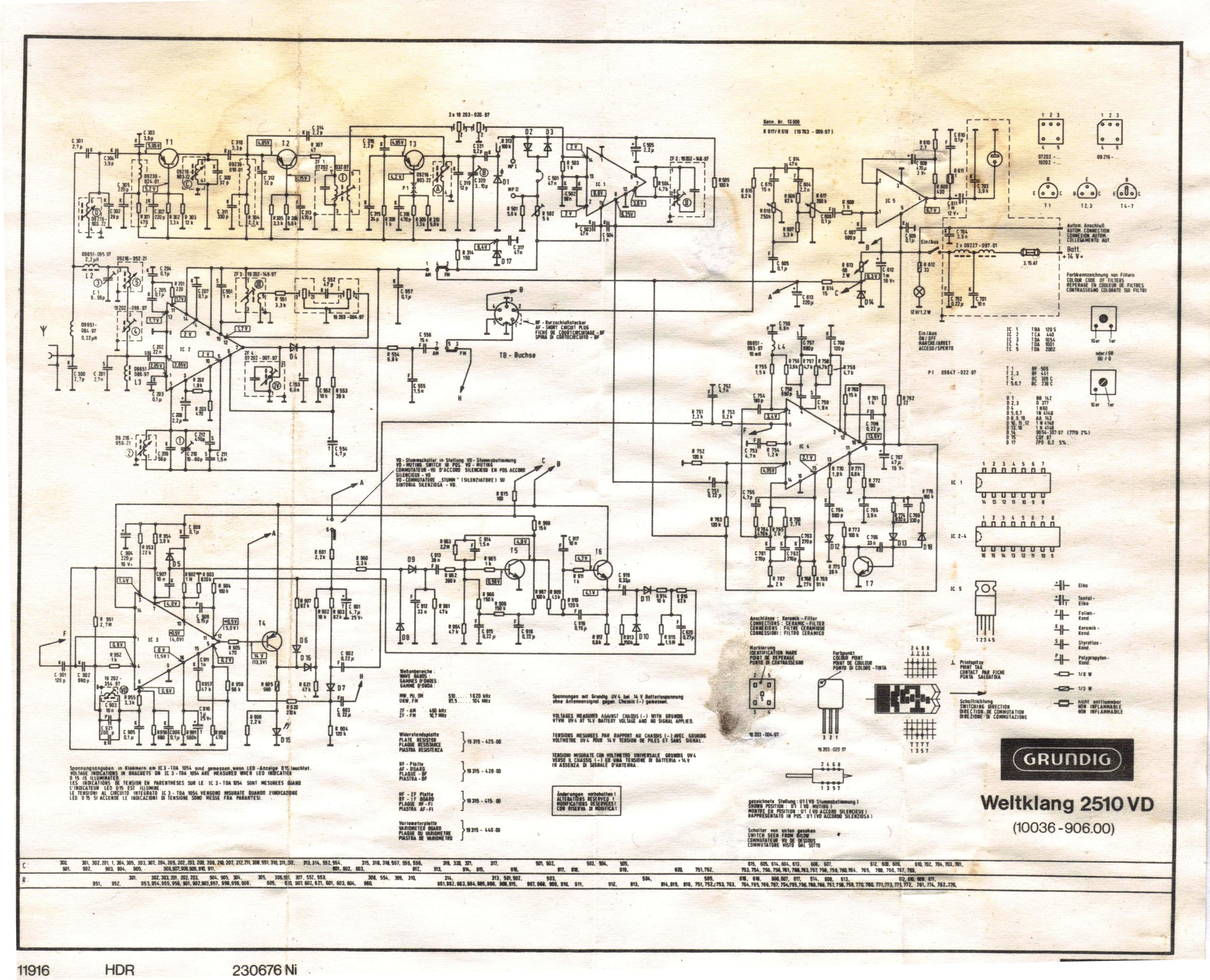Thesamba Com    Grundig Weltklang 2510 Vd Vw Radio Schematic