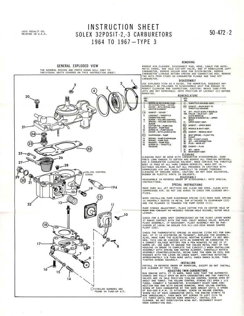 Solex Rebuild Instructions And Exploded Parts Diagram