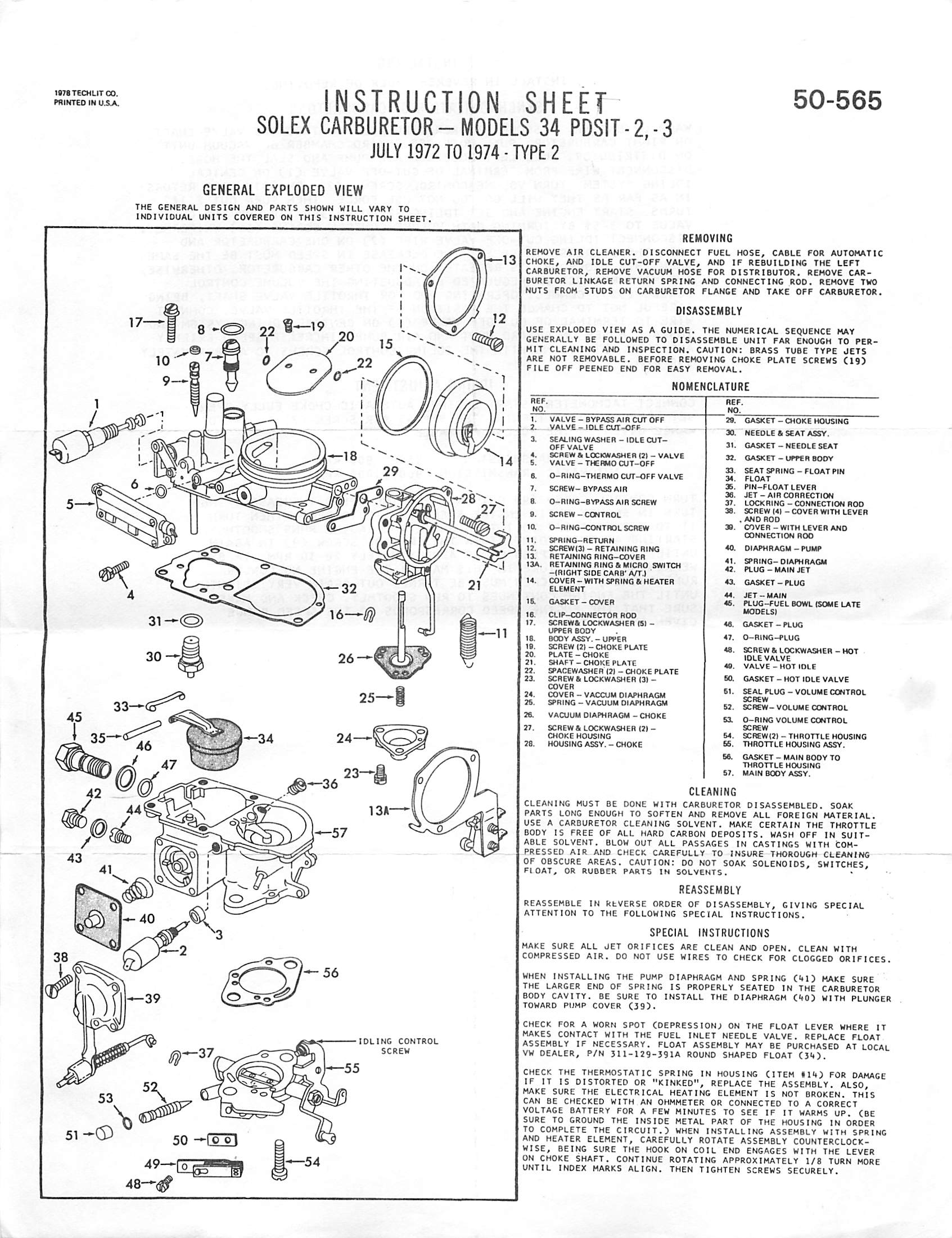 "Solex 34 PDSIT -2, -3 Carburetor Rebuild Instruction Sheet - PDF (713 KB)  Please right-click on the link above and do ""Save As.."