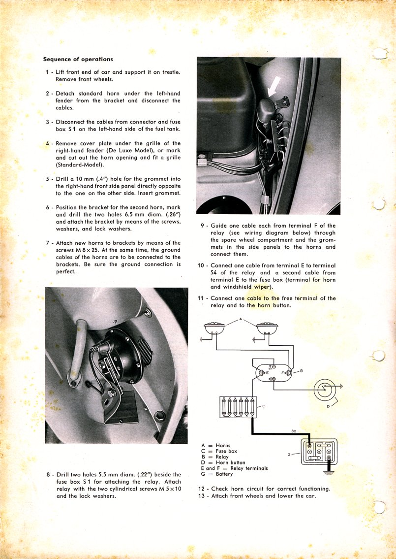 Beetle Oval Window 1953 57 View Topic Hella Horn Switch Grounding Relay Wiring The Original Is Connected To A New Wire Run From Fuse Panel For Horns See Technical Bulletin E1