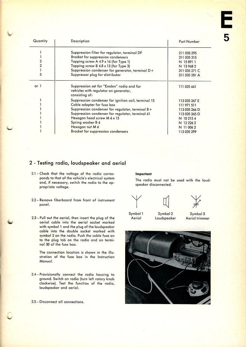 Technical Bulletin E5 Installation Of Radio Electrical Disconnect Fuse Box 1966 Wolfsburg And Emden