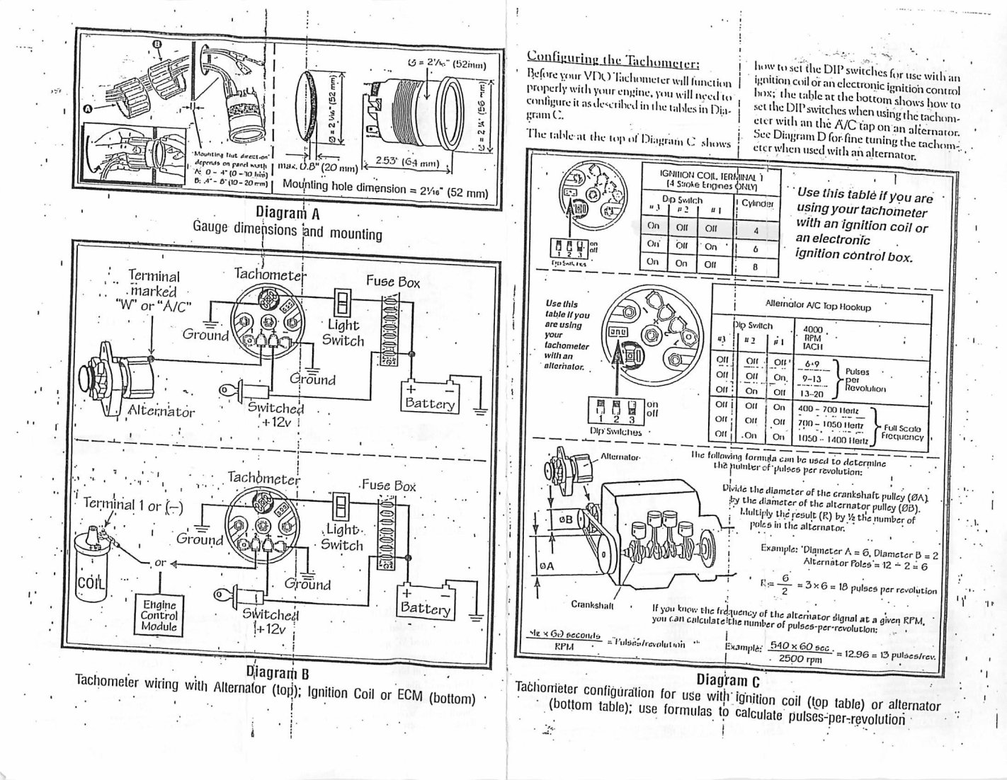 Vdo Tachometer Wiring Diagram Chevy Books Of Mercedes 400 1985 300d Alternator Free