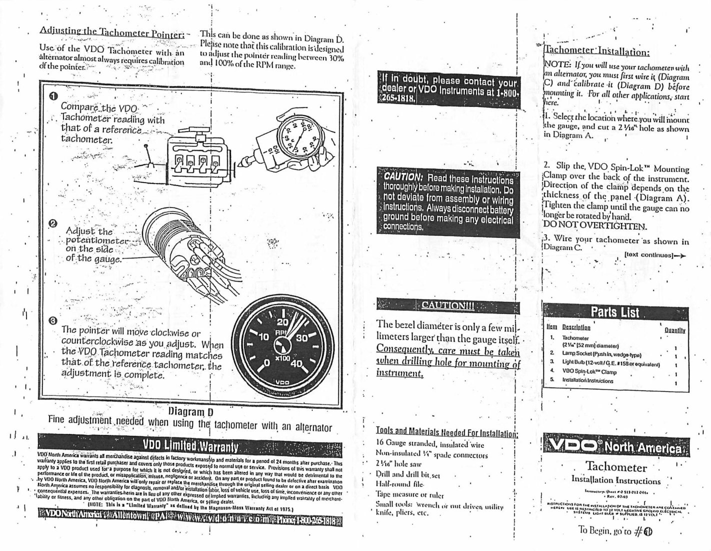 Vdo Tachometer Wiring Instructions Free Diagram For You Marine Tach Thesamba Com Diesel